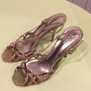BCBG Paris green beige heels sandals